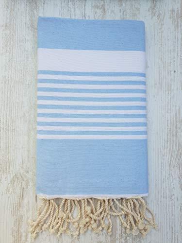 Miktex Toalla Fouta St Tropez, XL 100 x 200 cm, 100% algodón, 380 g Suave, Flexible, Absorbente y Ligera. Toalla de Playa, Mantel, sofá, Colcha, paréo, Picnic (Brisa Azul, Blanca)