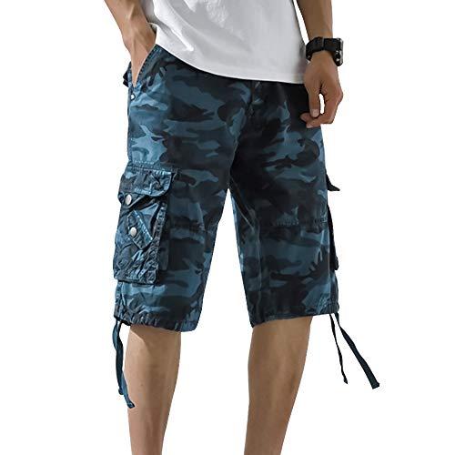 Cysincos Herren Camouflage Shorts Kurze Hose Multi Taschen Latzhose Overall Männer Oversize locker Tarnhose Outdoor Pants Freizeithose Strandhose Für Sommer