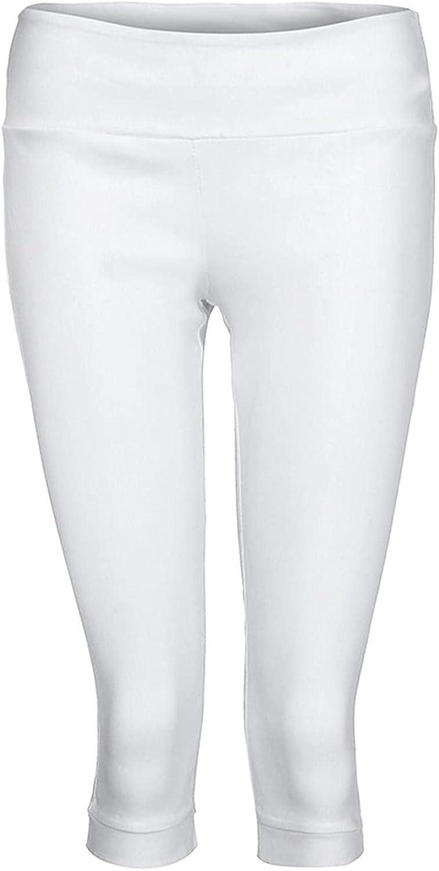 LEIYAN Womens Skinny Fit Shorts Casual High Waist Stretchy Capri Yoga Cropped Shorts Bermuda Active Sport Shorts