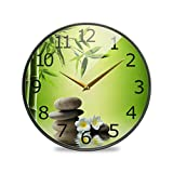 ALAZA Sand Lotus Massage Stones Zen Garden Meditation Acrylic Painted Silent Non-Ticking Round Wall Clock, 11.9 Inch Battery Operated Quiet Bathroom Clock for Living Room Bedroom Kitchen Office Decor