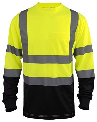 L&M Hi Vis Class 3 T Shirt Reflective Safety Lime Orange Short Long Sleeve HIGH Visibility, Black Bottom (Lime_L, X-Large)