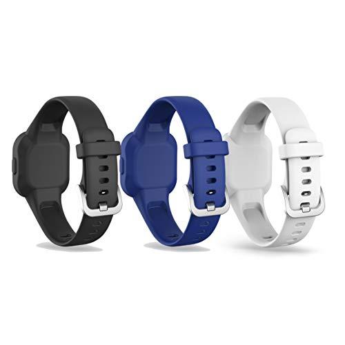 Ruentech Compatible con Garmin Vivofit JR 3 pulsera infantil 2020, pulsera de repuesto de silicona, pequeñas y grandes (negro, blanco y azul marino)