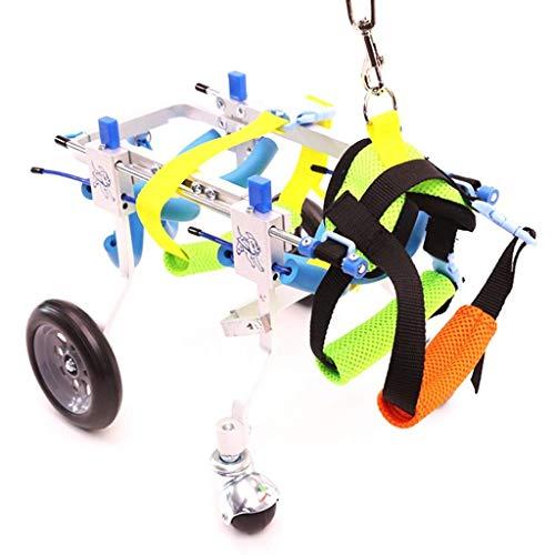 Wózek inwalidzki dla psa dla najlepszego przyjaciela rasy 2-10 funtów - dopuszczony do weterynarza wózek inwalidzki regulowany wózek inwalidzki do tylnych nóg rehabilitacja tylnych nóg dla psów niepełnosprawnych, 4 koła (rozmiar: S)
