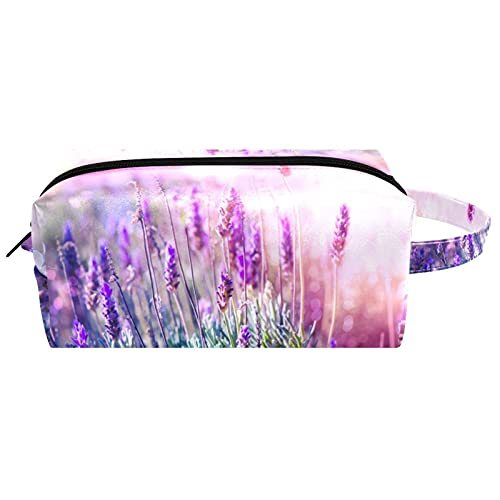 Bolsa de cosméticos para plantas de flores de lavanda para mujer, impermeable, linda moda, bolsa de maquillaje espaciosa bolsa de aseo de viaje