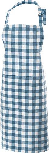 REDBEST Koch-Schürze, Küchenschürze karo blau, 100% Baumwolle - verstellbare Halsschlaufe, große aufgesetzte Tasche, Robustes Gewebe - Größe 75x90 cm