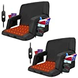 Blufree Extra Wide Heated Stadium Seats,Foldable Portable Bleacher Chair, 6 Reclinng Positions Back and Arm Support Sports Seat for Outdoor Sporting Events Games & Camping.(Not Include USB Power Bank)