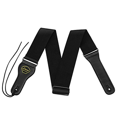 """Donner DR-1 Soft Cotton Guitar Strap for Bass AcousticElectric Guitar with Pick Pocket Genuine Leather End Black 2"""" Wide Gift for Guitarists"""