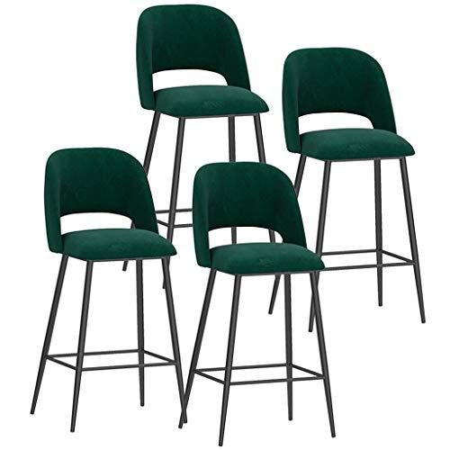 ZCXBHD barkruk set van 4 stuks soft velvet zitting barkruk ontbijt keukenbar stoel metalen poten barkruk hoge kruk met rugleuningen en voetsteunen