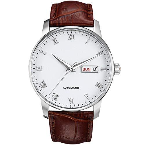 Heren Horloge, Automatische Mechanische Horloges Bedrijfs Sport Horloges Chronograaf Klok Dual Kalender Glass Wijzerplaat Genuine Leatherbelt