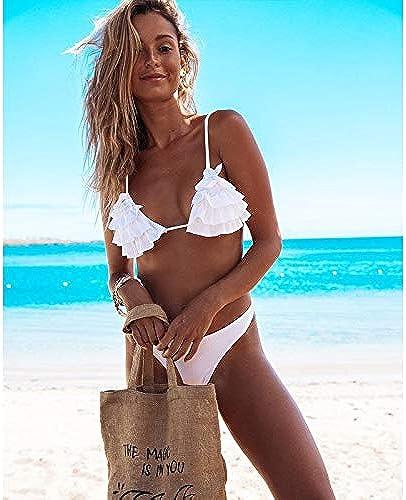 GUOQUNUP Jupe De Plage Int Femmes Bikini Set Halter Maillots De Bain Maillots De Bain Ruffles Push Up Triangle Maillots De Bain plagewear Les Les dames L Oyj90040W1