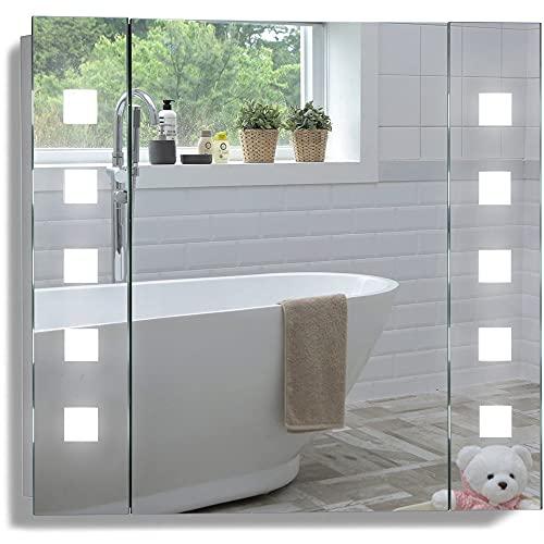 Armoire de Toilette pour Salle de Bain avec Miroir Lumineux, antibuée, Prise pour Rasoir, détecteur de Mouvement et éclairage LED 60cm(H) x 65cm(l) x 13.5cm(P) (Atom 60cm(H) x 65cm(L) x 13.5cm(P))