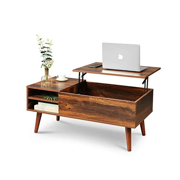 WLIVE Wood Lift Top Coffee Table with Hidden Compartment and Adjustable Storage Shelf, Lift Tabletop Dining Table for Home Living Room, Office, Rustic...