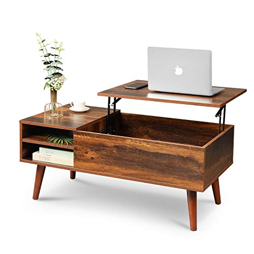WLIVE Wood Lift Top Coffee Table with Hidden Compartment and Adjustable Storage Shelf, Lift Tabletop Dining Table for Home Living Room, Office, Rustic O9 Oak
