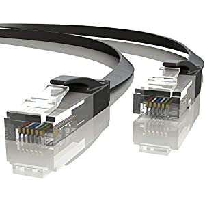 Mr. Tronic 20m Cable de Red Plano Ethernet Latiguillo | CAT6, AWG24, CCA, UTP, RJ45 (20 Metros, Negro)