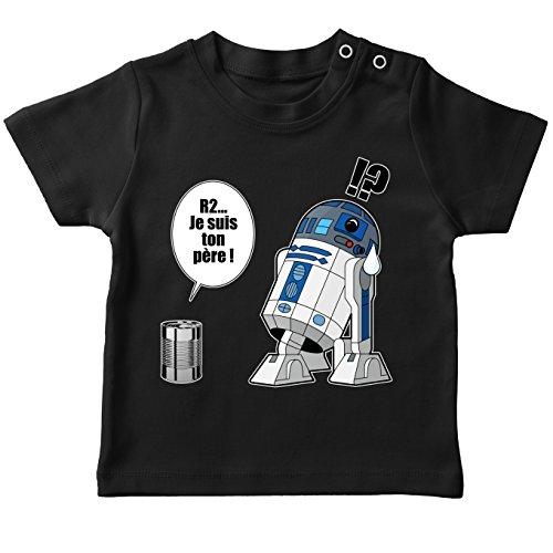 T-Shirt bébé Noir Star Wars parodique R2-D2 - Je suis Ton père : Boîte de Conserve (Parodie Star Wars)