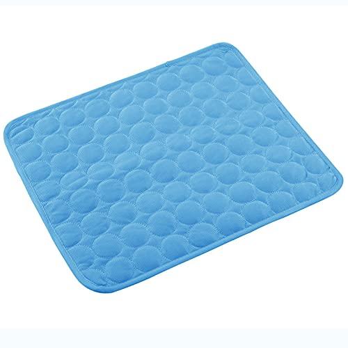 XGzhsa Perro de Almohadilla de enfriamiento, Alfombrilla Lavable autorefrigerante para Perros y Gatos Alfombrilla de Hielo para Mascotas para el Coche doméstico (Azul, 50 x 60 cm)