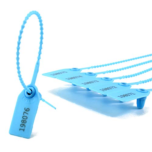 100 Numbered Plastic Tamper Seals Self Locking Security Tags Zip Ties Label for Fire Extinguisher 250mm (Light Blue)