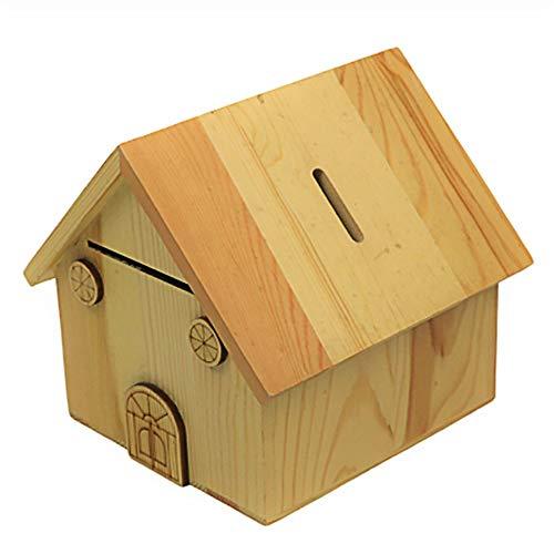 ZAKRLYB Adulto hucha escritorio almacenamiento de escritorio colección de madera colección infantil monedas monedas mini casa tesoro caja hecho a mano decoración souvenirs ahorrar dinero lindo kids ro