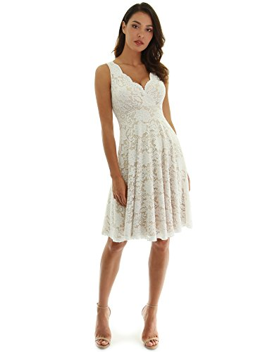 PattyBoutik Women Floral Lace Overlay Fit and Flare Dress (Ivory and Beige X-Large)