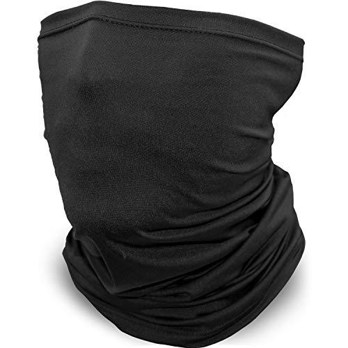 Neck Gaiter, Bandana Face Mask, Balaclava Breathable Cover Scarf, Gator Covering (Black)