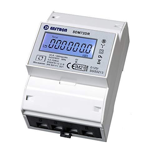 SDM72DR-MID - digitaler Drehstromzähler/Stromzähler mit momentan Lastanzeige und Tageszählfunktion (rückstellbar) / geeicht/MID zugelassen