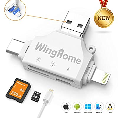 WingHome 4-in-1 SD Card Reader, Memory Card Viewer for iPhone and Android, Micro SD/TF Card Adapter to View Camera Photos and Videos on Smart Devices from WingHome