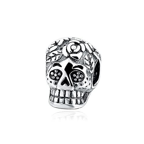 XIAOLW Colgante Hallowen de plata de ley 925 oficial del ejército de cráneo de la muchacha del esqueleto del abalorio para la fabricación de joyas, collar y pulsera accesorio (WJ245)