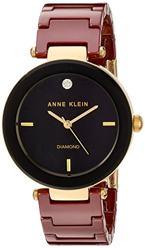 Anne Klein Women's Quartz Metal and Ceramic Dress Watch, Color:Red (Model: AK/1018BKBY)