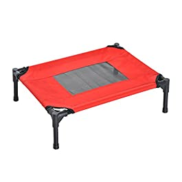 Pawhut Elevated Pet Bed Portable Camping Raised Dog Bed w/Metal Frame Black and Red