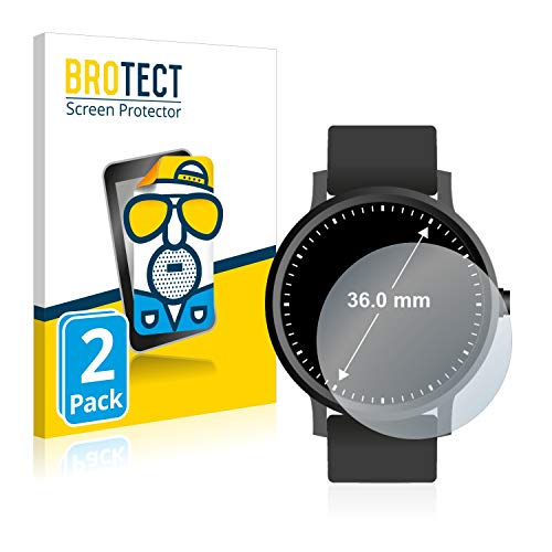 BROTECT 2X Entspiegelungs-Schutzfolie kompatibel mit Armbanduhren (Kreisrund, Durchmesser: 36 mm) Matt, Anti-Reflex, Anti-Fingerprint