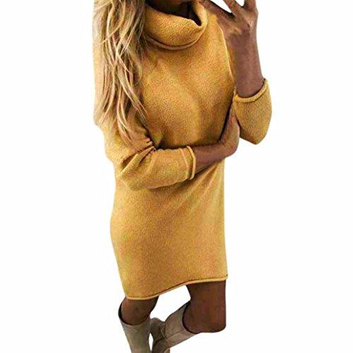 Pulli Kleid Damen, Winter Mode Frauen Fester Rollkragen Strickjacken Langes Beiläufiges Langes Hülsen Pullover Kleid Sunday (Gelb, L)