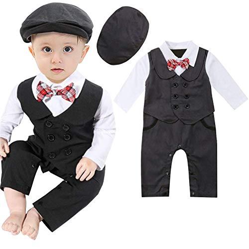 Wide.ling Baby Smoking Kleidung Gentleman Strampelanzug Jumpsuits Kinder Jungen formelle Anzüge Body Smoking Outfits Kleidung + Baskenmütze Gr. 12- 18 Monate, dunkelgrau