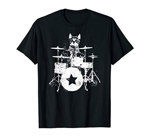 Punk Rockstar Kitten Kitty Cat Drummer Playing Drums Graphic T-Shirt