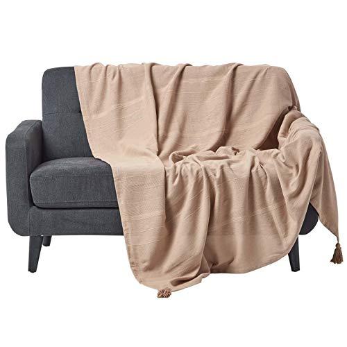 Homescapes extra große Tagesdecke Rajput, beige, Wohndecke aus 100% Baumwolle, 255 x 360 cm, Sofaüberwurf/Couchüberwurf in RIPP-Optik