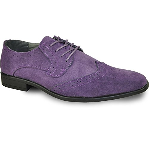 Bravo! Men Dress Shoe King-3 Classic Oxford with Leather Lining - Wide Width Available Purple