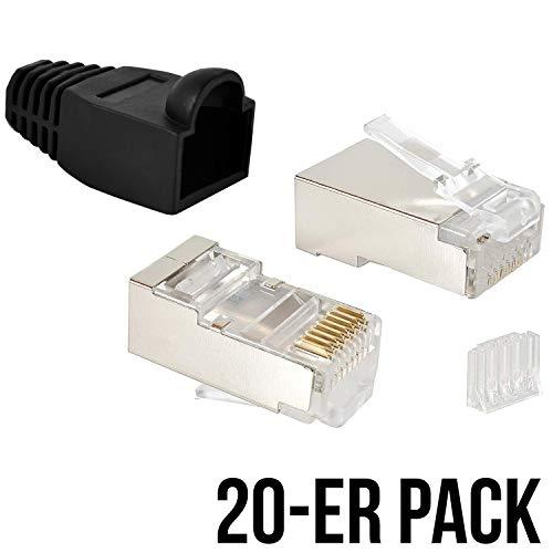 VESVITO 20er Pack RJ45 Crimpstecker CAT 6 STP geschirmt mit Einfädelhilfe und Knickschutz in Schwarz Steckverbinder, Netzwerkstecker, Stecker für Patchkabel, Netzwerk LAN Kabel, Netzwerkkabel