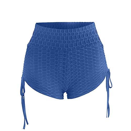 TTivxe Korte hardloopbroek dames push up sportbroek sport korte broek yogabroek zomer running leggings joggingbroek (blauw, XXL)
