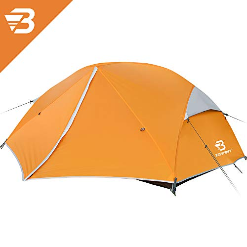 Bessport Camping Tent 3-4 Person, Easy & Quick Setup Lightweight Two Doors Backpacking Tent - Waterproof Anti-UV Protection Large Tent for Family, Outdoor, Hiking (3 Person-Orange)