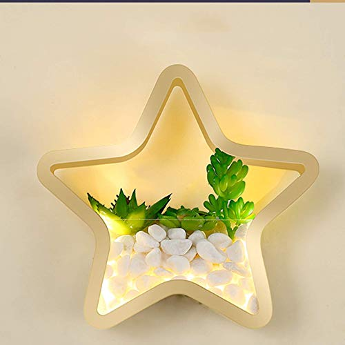 WGFGXQ Wall Lamp Star Living Room Modern Gold, LED Wall Light Metal Creative, Sconce with Tricolor Light and Acrylic Lampshad for Office Bedroom Stairwell Decorative Lighting, 9.8 * 9.8in
