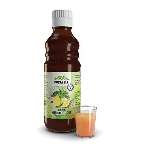 Purazell Liposomales Vitamin C + Zink flüssig 250 ml (31 Portionen) I 1000 mg Vitamin C hochdosiert + 15 mg Zink I Natürliches Vitamin C mit Zink in Glasflasche I Vegan ohne Alkohol