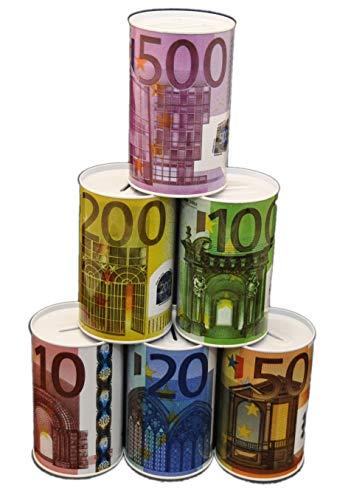 jameitop® $ 6er Set Euro SPARDOSE Blech Nicht zu öffnen Dose Sparen Blechdose 10/20/ 50/100/ 200/500 $