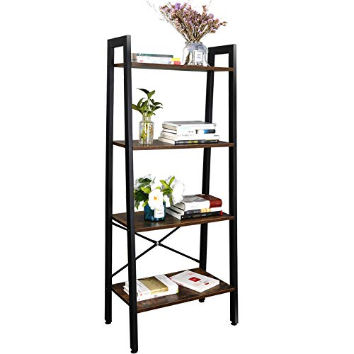 SUPER DEAL Ladder Shelf 4-Tier Bookcase Plant Book Display Furniture Storage Rack Shelf for Lounge Room Home Office Bathroom (Rustic Brown) Illinois