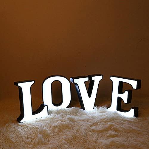 Luz de noche con alfabeto inglés LED, accesorios de confesión con pilas, decoración de interiores, luces de fiesta de boda, luz de noche para dormitorio-J