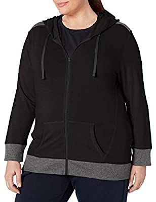 JUST MY SIZE Women's Plus Size Active French Terry Full-Zip Hoodie, Black/Granite, 2X