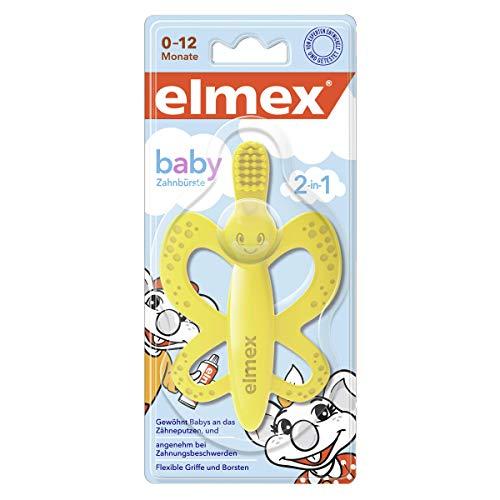 Elmex Baby Zahnbürste und Beißring - für Babys von 0-12 Monaten, angenehm bei Zahnungsbeschwerden, frei von BPA und zu 100 % aus lebensmittelechtem Silikon