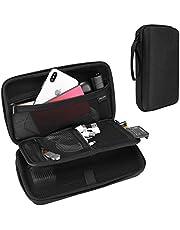 ProCase Elektronische hardshell-koffer, stootvast, robuuste reistas, organizertas, beschermkoffer, met netvakken voor kleine elektronica en accessoires, zwart