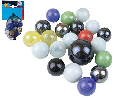 Smart Planet® Murmeln aus Glas - Murmelspiel - 21 Stück Klicker - Glasmurmeln zum Spielen - Glaskugeln Murmelbahn