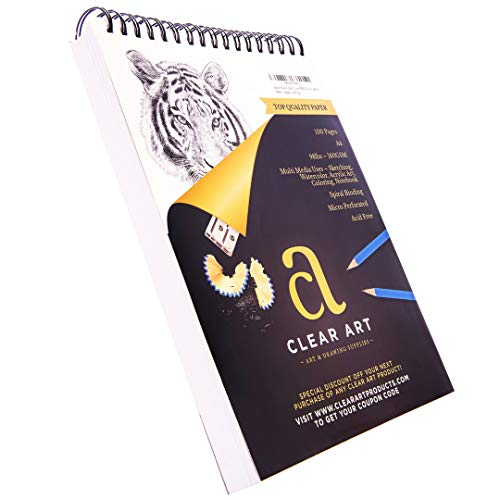 """100 Sheet Sketchpad - Drawing Pad - Sketchbook for Art - Spiral Bound - 9"""" x 12"""" - A4 - 98LB – 160GSM - Sketching - Watercolor – Acrylics – Notebook - Mixed Media Paper - Acid Free"""