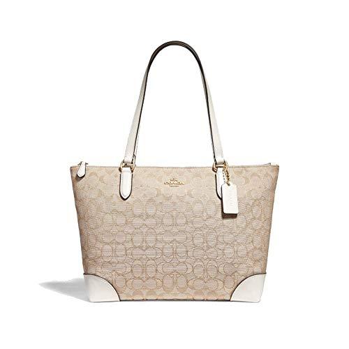 Zipper Closure, 3 Open Pockets 14''L X 9''H X 5'' W 9'' Handle Drop Signature Jacquard Fabric/Leather