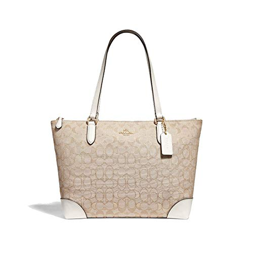 Coach Women's Outline Signature Zip Tote, Im/Light Khaki/ Chalk, No Size